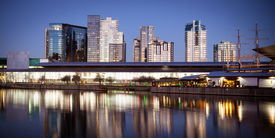 stock photo of polly  - Melbourne Exhibition Centre from over the Yarra River at dusk - JPG
