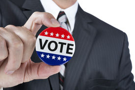stock photo of politician  - A politician is promoting the right to vote in political elections in the USA - JPG