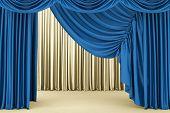 stock photo of broadway  - Open blue theater curtain - JPG