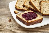 healthy breakfast concept - slices of freshly baked, gluten free bread made with almond and coconut