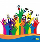 picture of playground school  - Cute happy cartoon kids on fingers - JPG