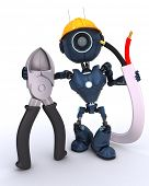stock photo of wire cutter  - 3D Render of an android Builder with wire cutters - JPG