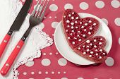 Valentine's Day Red Pancakes In Heart Shape With Sour Cream