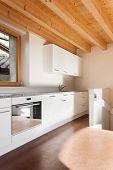 image of chalet interior  - comfortable empty loft - JPG