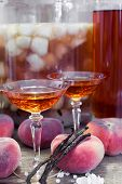 Close Up View Of Homemade Wild Peaches Fruit Liqueur