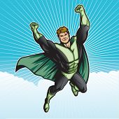 Generic superhero figure flying in the sky.  Layered & easy to edit. See portfolio for similar image