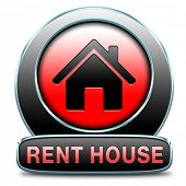 For rent sign, renting a house apartment or other real estate label. Home flat or room to let icon.