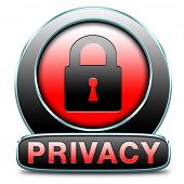 privacy policy for data protection and personal top secret confidential information. Label icon or s