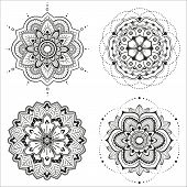 stock photo of indian culture  - Set of four floral mandala for design or mehndi - JPG