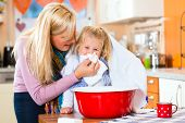 image of vapor  - Mother care for sick child with vapor - JPG
