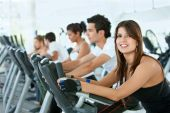 pic of gym workout  - Group of gym people exercising on cardio machines - JPG