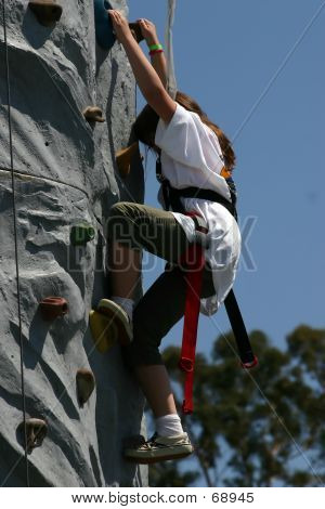 Picture or Photo of Climbing the rock wall at the fair