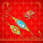 pic of rakhi  - vector illustration of beautiful rakhi on Raksha Bandhan background - JPG