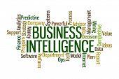 foto of backround  - Business Intelligence Word Cloud on White Background - JPG