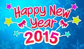 image of pop star  - Blue Happy New Year 2015 Greeting Art Paper Card - JPG