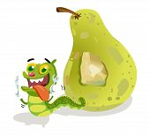 stock photo of caterpillar cartoon  - pear with caterpillar cartoon holding a spoon and fork - JPG