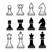 stock photo of chessboard  - Chess Pieces Including King Queen Rook Pawn Knight and Bishop - JPG