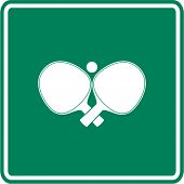 stock photo of ping pong  - crossed ping pong paddles and ball sign - JPG