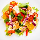 pic of gyro  - Chicken gyros salad on white plate top view - JPG