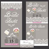 picture of recipe card  - Bridal shower design templat set with wedding Paisley lace in Retro style with high heel shoes - JPG