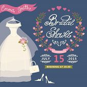 stock photo of bridal veil  - Bridal shower card with  wedding dress  and floral wreath - JPG
