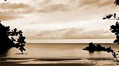 picture of thong  - Silhouettes small bay with sepia color Bo Thong Lang in Bang Saphan coast of Thailand 16 - JPG
