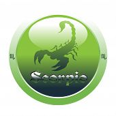 picture of scorpio  - Abstract colorful illustration with green button with the scorpio symbol from the zodiac - JPG