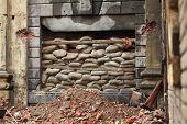 stock photo of barricade  - War barricade of bags over the window  - JPG