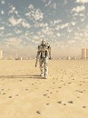 stock photo of trooper  - Science fiction illustration of a space marine trooper on patrol in the desert outside a future city - JPG