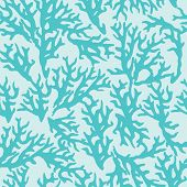 picture of medusa  - Vector seamless pattern with blue coral - JPG