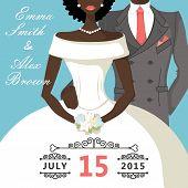 stock photo of mulatto  - The wedding invitation with Cartoon mulatto bride and groom - JPG