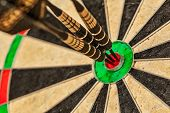 stock photo of archery  - Success hitting target aim goal achievement concept background  - JPG
