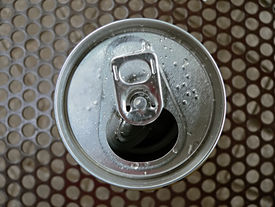 stock photo of cold drink  - top view of open can - JPG