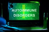 image of stethoscope  - Notebook with words  autoimmune disorders  - JPG