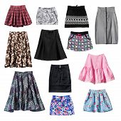 image of mini-skirt  - Set of various skirts isolated over white - JPG
