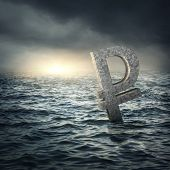 image of stagnation  - Ruble sign sinking in water - JPG