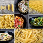 stock photo of pasta  - Italian food collage with dried pasta and cooked pasta with sauces - JPG