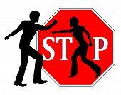 foto of spank  - Concept sign for ending any kind of violence against women - JPG