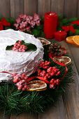 pic of desert christmas  - Christmas cake with wreath on wooden background - JPG