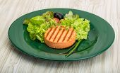 image of crab-cakes  - Grilled Fish cakes in the bowl with salad leaves