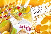 stock photo of tort  - colorful fruit cocktail and torte  - JPG