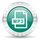 stock photo of christmas song  - mp3 file green icon - JPG