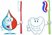 picture of tooth-fairy  - Smiling Toothpaste And Tooth With Toothbrush Cartoon Character - JPG