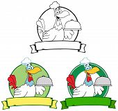 image of roosters  - Happy Rooster Chef Serving A Platter Over A Circle Banner - JPG
