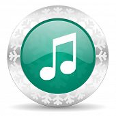 picture of christmas song  - music green icon - JPG
