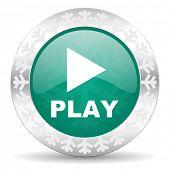 stock photo of christmas song  - play green icon - JPG