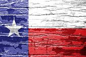 foto of texas state flag  - Texas State Flag painted on grunge wood - JPG