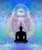 pic of all seeing eye  - All seeing eye abstract spiritual card with man silhouette  - JPG