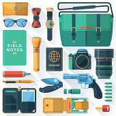 image of knapsack  - Flat design concept vector illustration of every day carry and outfit accessories things tools devices essentials equipment objects items - JPG