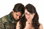 foto of veterans  - distraught military soldier veteran ptsd in therapy with psychologist isolated on white - JPG